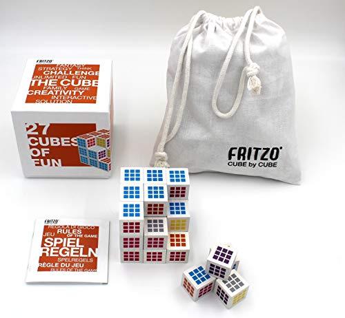 FRITZO Cube Weiß   Gesellschaftsspiel & Knobelspiel für Erwachsene, Jugendliche & Kinder   Hochwertiges Holzspiel Made in Europe
