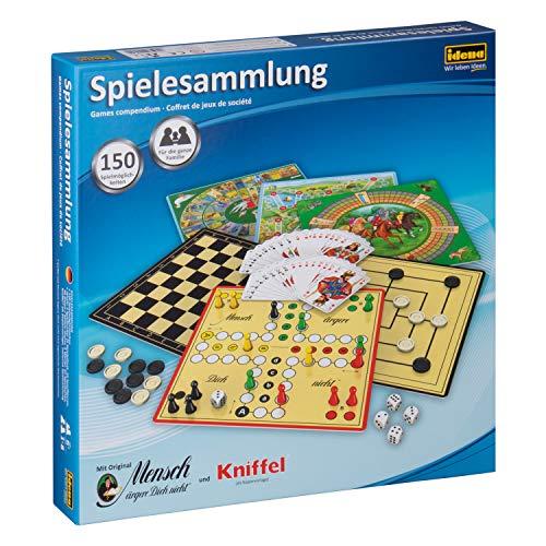 Idena 6102589 – Spielesammlung mit 150 Spielmöglichkeiten, inklusive original Mensch ärgere Dich nicht und Kniffel, für 1 bis 8 Spieler ab 6 Jahren