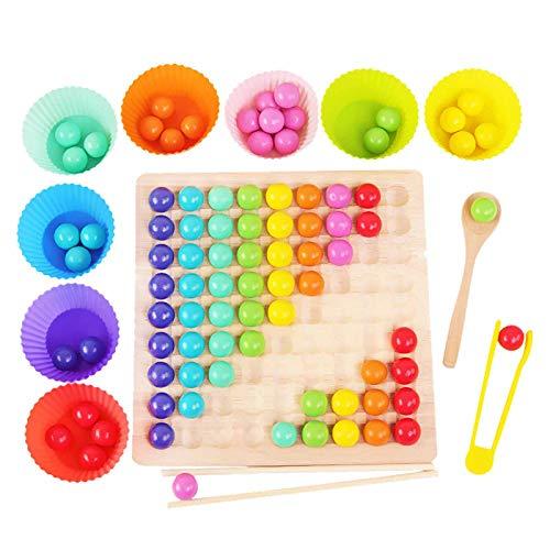 Spielzeug Kinder pädagogisches Holzpuzzle Regenbogen Clip Perlen Fokus Brettspiel Geschenk Geburtstag