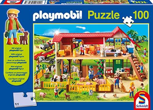 Schmidt Spiele 56163 Bauernhof, 100 Teile Kinderpuzzle, mit Playmobil-Figur, bunt