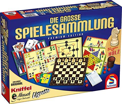 Schmidt Spiele 10IT4001504491253IT10 49125 Die Große Spielesammlung, alle Spielfiguren aus Holz, bunt
