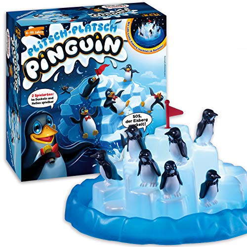 Ravensburger – 21325 – Plitsch Platsch Pinguin – großer Spielspaß mit Geschicklichkeitsfaktor für Kinder und Erwachsene – Klassiker für 1 bis 5 Spieler ab 4 Jahren