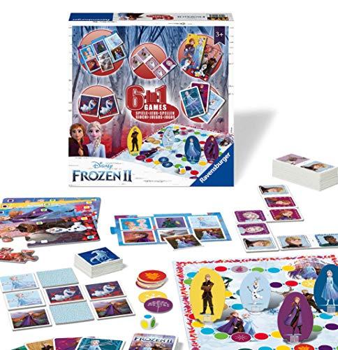 Ravensburger 20427 Disney Frozen 2, 6-in-1-Spielset für Kinder und Familien ab 3 Jahren – beinhaltet 6 Klassische Spiele: Bingo, Erinnerung, Domino, Schlangen und Leitern, Schachbrett-und Spielkarten,