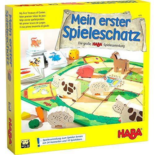 Haba 4278 – Mein erster Spieleschatz Die große Haba-Spielesammlung, 10 unterhaltsame Brett-, Memo- und Kartenspiele ab 3 Jahren in einer Packung, Kindgerechtes Spielmaterial aus Holz