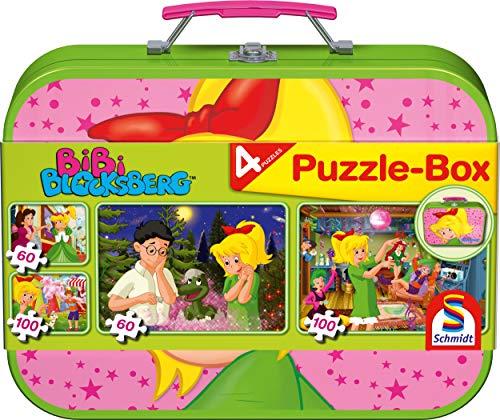 Schmidt Spiele 55595 Bibi Blocksberg, 4 Kinderpuzzle im Metallkoffer, 2×60 und 2×100 Teile